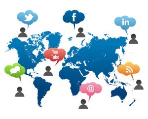 social media icons on world map